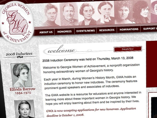 Georgia Women of Achievement Website